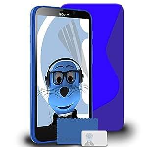 iTALKonline Sony LT30p Xperia T AZUL Grip Wave S-Line TPU Gel caso de la cubierta suave de la piel delgada con protector de pantalla y paño de Microfibre