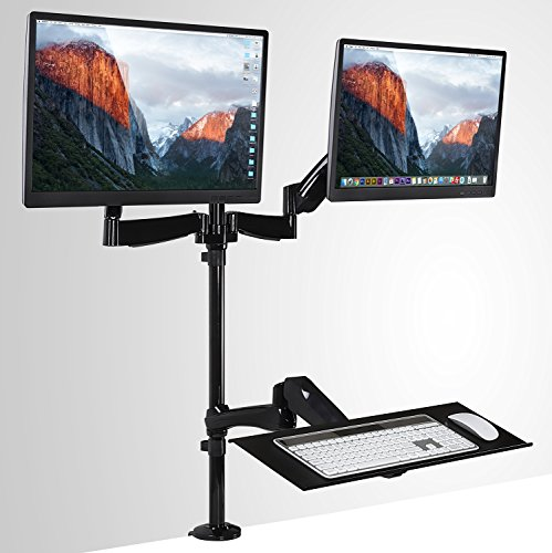 Mount-It! Sit-Stand Desk Mount Workstation, Height Adjustable Standing Desk, Ergonomic, Dual Monitor and Keyboard Mount, 22, 23, 24, 27 Inch Monitors, Gas Spring Arm, C Clamp Base, Black (MI-7922) (Convertible Top Hold Down Cables)