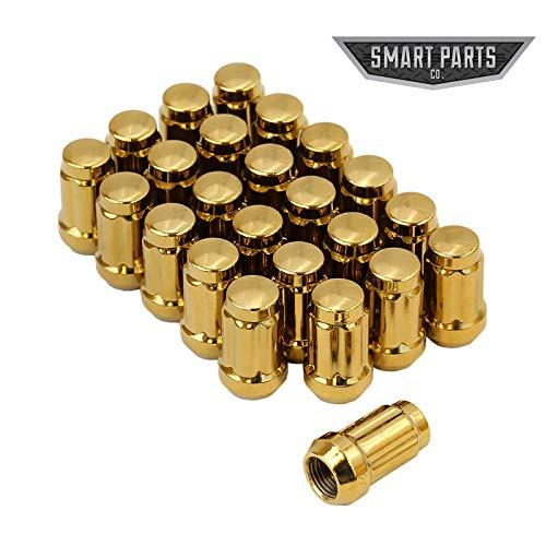 Smart Parts 24 Qty 12x1.25 Gold Closed End Spline Drive Acorn Lug Nuts W/Key 1.4