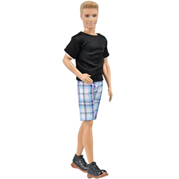 d287205c6ca Amazon.com   E-TING 1 Set Casual Wear T-shirt Pants Pack Summer Look for  Boy Doll (Black Blue)   Baby