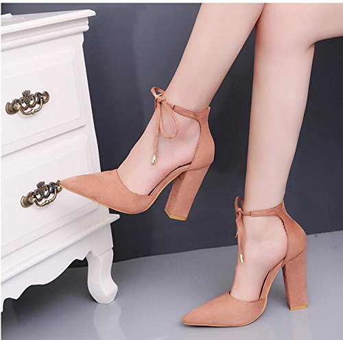 KHSKX-High Heel Shoes Large Suede High Heel Shoes Tied Women Shoes Coarse Heel Temperament Baotou Thirty-four