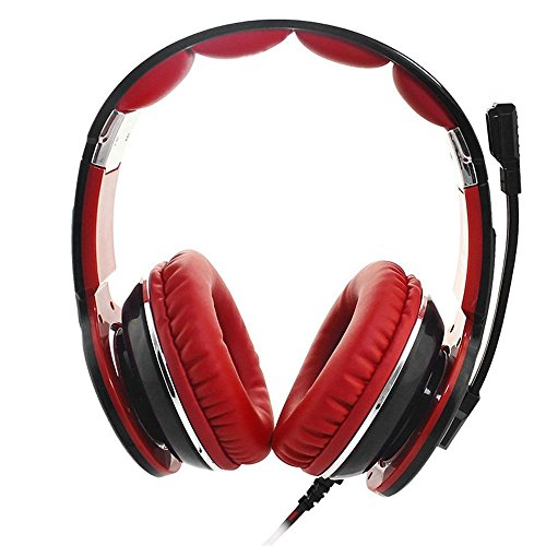 XHKCYOEJ Headset Stereo Headset/Headphones/Headphones/Computer/Desk/Headphones,Black Red: Amazon.co.uk: Electronics