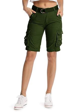 Multi Bermuda En Coton Shorts Loisir Femme Casual Poches Cargo Loose sQhdtr