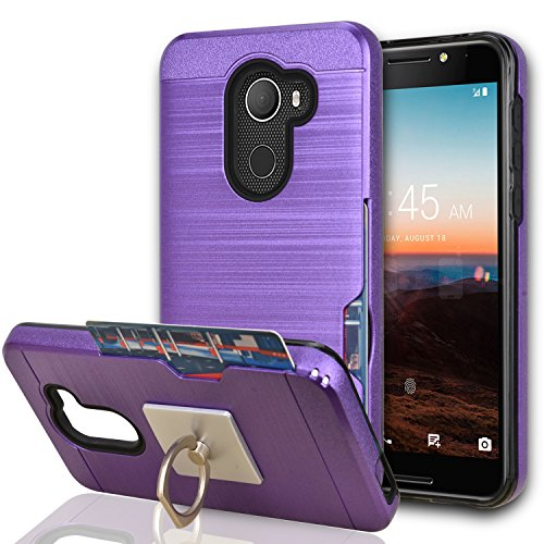 T-Mobile REVVL Case (Not REVVL Plus)/ A30 Fierce (2017) Case With Phone Stand,Ymhxcy[Card Slots Wallet Holder][Brushed Texture] Dual Layer Shockproof Protective Cover For Alcatel Walters-LCK (Rubberized Purple Rhinestones)