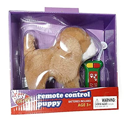 Playright Remote Control Puppy Brown with White: Toys & Games