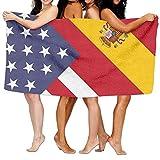 YELOFISH Microfiber Bath Towels America Spain Flag Absorbent Beach Towel Spa Towel For Men Women