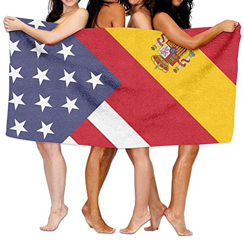 YELOFISH Microfiber Bath Towels America Spain Flag Absorbent Beach Towel Spa Towel For Men Women by YELOFISH