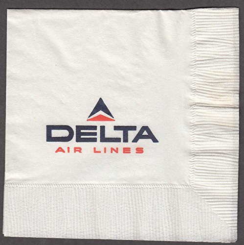 "Delta Air Lines airline paper napkin unused 5x5"" 1960s"