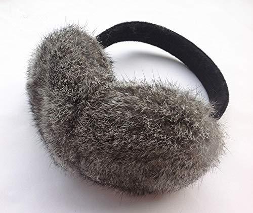 (DeemoShop Women Ear Muffs Autumn Winter Genuine Rabbit Fur Black Gray White Brown Female Ear Warmer unadjustable Earmuff)