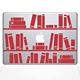 The Decal Guru 1649-MAC-13X-DR Bookshelf Library Decal Vinyl Sticker, Red, 13'' MacBook Pro (2016 & Newer)