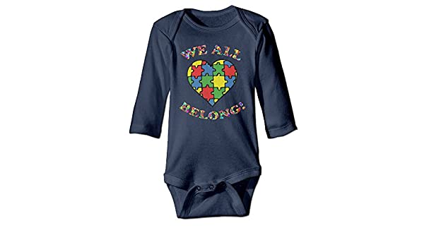 Amazon.com: TREEWw We All Belong Autism Awareness Heart Baby Boys Girls Long Sleeve Bodysuits Onesies: Clothing