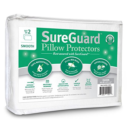 Set of 2 Smooth SureGuard Pillow Protectors - 100% Waterproof, Bed Bug Proof, Hypoallergenic - Premium Zippered Cotton Covers - 10 Year Warranty - Queen Size