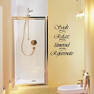 Wall decal decor soak relax unwind rejuvenate for Bathroom ideas amazon