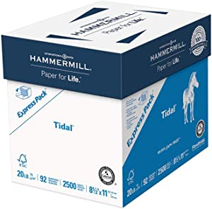 Hammermill Tidal 20lb Copy Paper, 8.5x11, 1 Express Pack, 2500 Sheets, No Ream Wrap, Made in USA, Sustainably Sourced From American Family Tree Farms, 92 Bright, Acid Free, Multipurpose Paper, 163120C