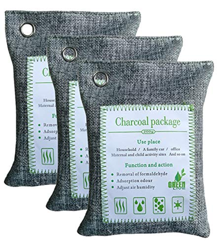 Price comparison product image 200g Charcoal Grey - Natural air Purifying Bag,  Bamboo Charcoal air freshener,  Odor eliminating Bag Perfect for deodorants in Cars,  wardrobes,  bathrooms and pet Areas (3)