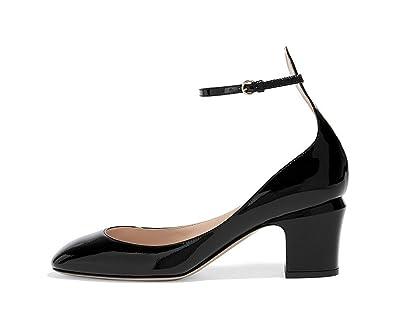 270e4c60781 FSJ Women Retro Ankle Strap Mid Heels Dress Pumps Almond Toe Patent Leather Shoes  Size 4