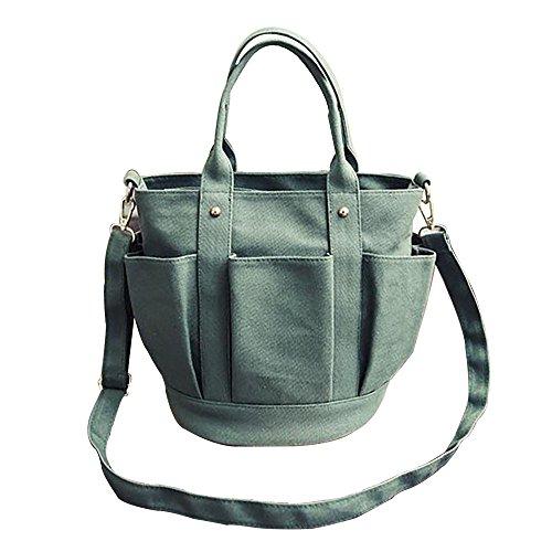 NEARTIME Foreign Trade Women Bag, Fashion Lantern Type Zipper Canvas Barrel-shaped Handbag Tote Bag Messenger Bags