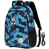 Vbiger Laptop Backpack Oxford Computer Shoulder Bag Casual School Bags with Charging Port (Blue)