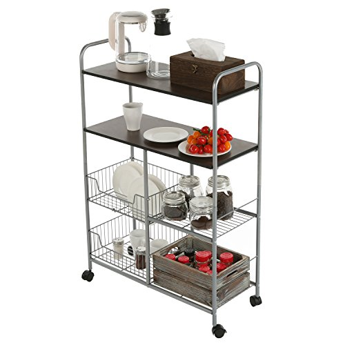 MyGift Rolling Kitchen Cart, 4 Tier Utility Rack with Wire Baskets, Silver-Toned