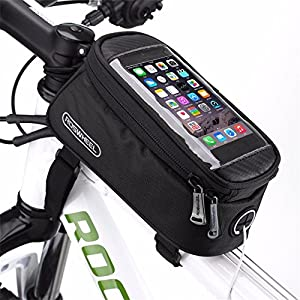 Bike Frame Bag, MOOZO Rainproof Bicycle Cycling Front Top Tube Pannier Pouch Mountain City Bike MTB Crossbar Storage Bags for iPhone 8 7 6 6S 5S 5 SE Samsung LG Smartphones Below 4.8'' (Middle Size)