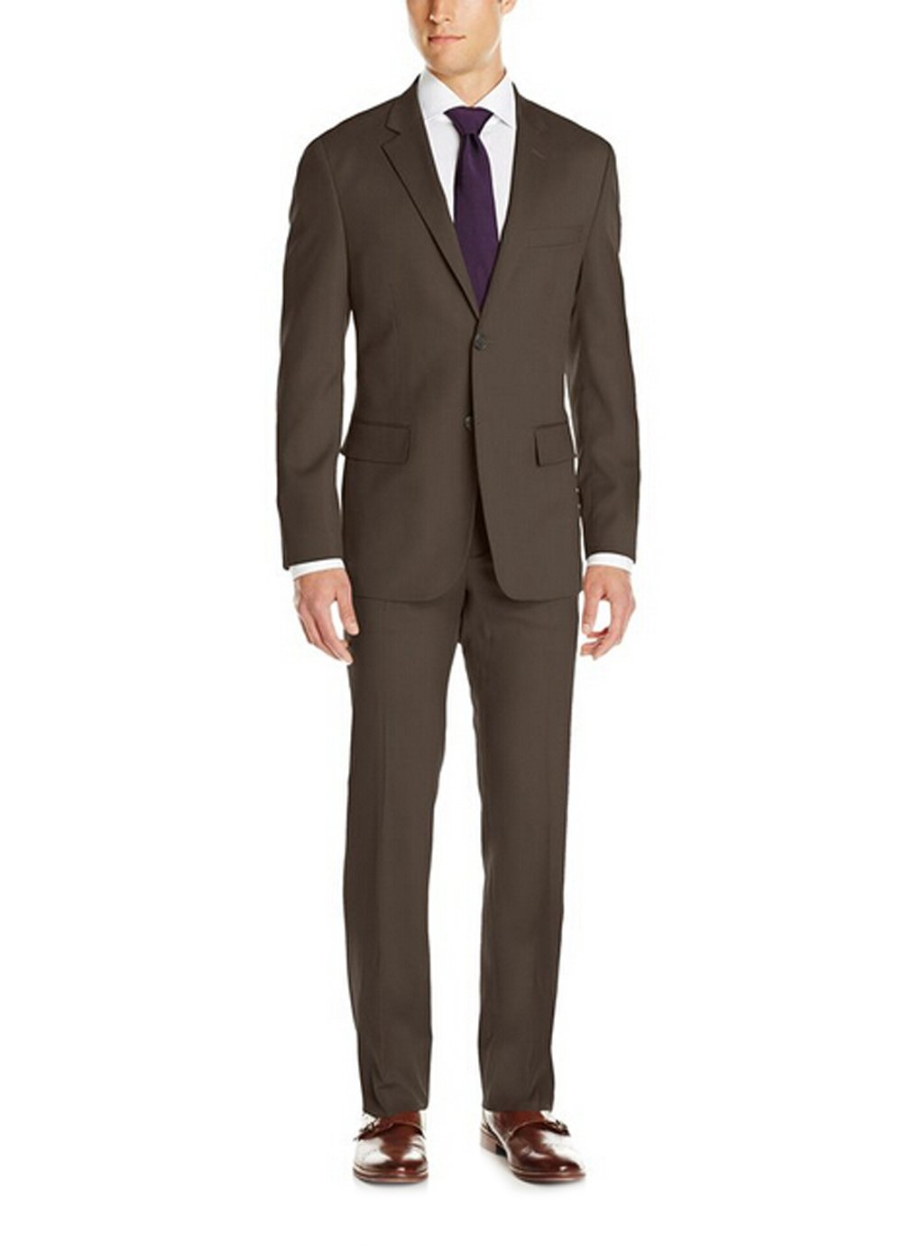 Love Dress Classic Fit Suit with Two-Button Side Vent Jacket and Pant Brown 5XL
