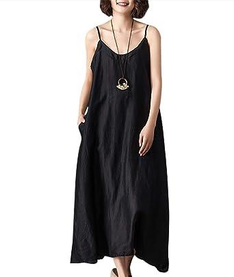 926c51d933a0f YESNO Women Casual Loose Summer Spaghetti Slip Linen Dress Sexy Sleep Wear  'A' Line Side Split Hi-Low Hemline YP6