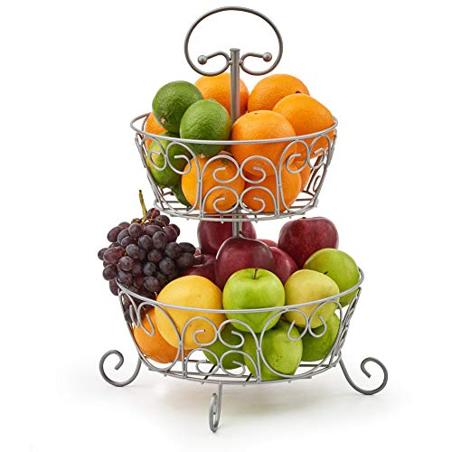 EZOWare 2-Tier Fruit Bowl Stand, Round Kitchen Produce Countertop Display Holder - Storage Organiser for Fruits Veggies Snacks Household Items - Silver Metal