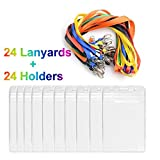 Lanyards and ID Badge Card Holders Vertical Clear Name Tag Badge Holders with Lanyard Neckstrap Bulk Children Students Kids 24 Sets (assorted colours)