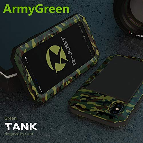 Heavy Duty Protection Doom Armor Metal Aluminum Phone Case for iPhone X Shockproof Dustproof Cover Case (Army Green)
