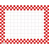 Retail Price Sign Sign Cards White Cards With RedCheckerboard Border - 5 1/2 L x 7'' H 100 Per Pack