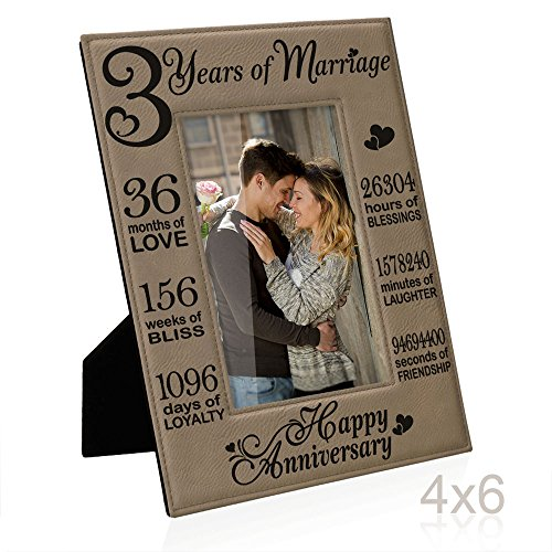 Leather Frame - Kate Posh - Our 3rd Wedding Anniversary, 3rd, 3 Years Anniversary, 3 Years of Marriage, Gifts for Couple, Third Anniversary - Engraved Leather Picture Frame (4x6 Vertical)