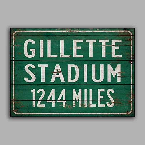 CELYCASY Personalized Highway/Road Distance Sign to Gillette Stadium Home of The New England Patriots Print on Wooden Sign Wall Decor
