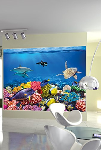 Aquarium Mural Decoration Underwater World Sea Dweller Ocean Fishes Dolphin Turtle Coral Reef Wallposter Photoposter Wall Decor Great Art Children/'s Room Poster 55 x 39.4 Inch // 140 x 100 cm