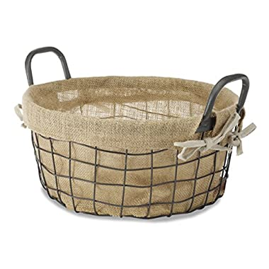 Whitmor Burlap Lined Wire Tote, Medium
