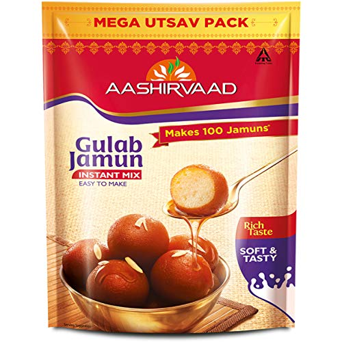 Aashirvaad Instant Mix Gulab Jamun, 500g Pack, Easy to Make Soft & Delicious 35 Gulab Jamuns in Just 3 Steps