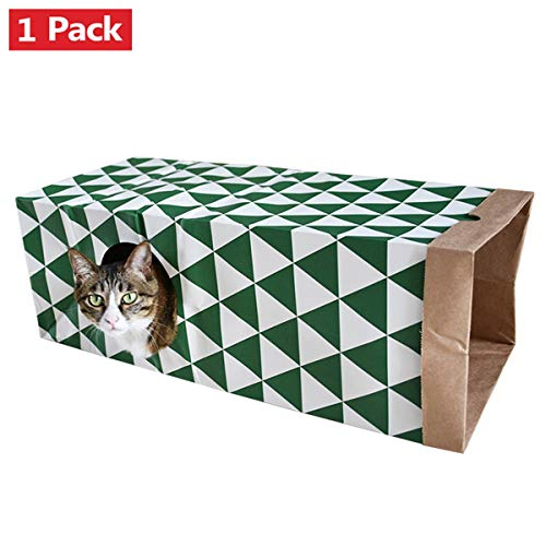 AOFITEE Collapsible Paper Cat Tunnel Toys 1 Pack, Sneak Interactive Cat Toy, Activity Play Tunnel with Hole for Rabbit, Kitten, Ferret