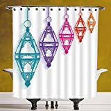 SCOCICI Durable Shower Curtain 3.0 by [Lantern,Sacred Religious Celebration with Hanging Fanoos Arabian Festivities Theme Print,Multicolor ] Polyester Fabric Bathroom Shower Curtain
