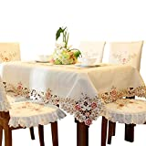 Pink Flower Embroidered hemstitch Cream Spring Small Oval tablecloths 53 x 76 inch Approx