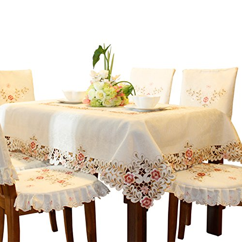 Pink flower embroidered hemstitch cream spring round tablecloths small 32 inch approx