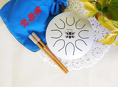 Hand pan Drum Tongue Drum Chakra Drum Mini Tongue Drum Tank Hand pan UFO series, Great for Meolodies Theropy, C tone White, by WUYOU