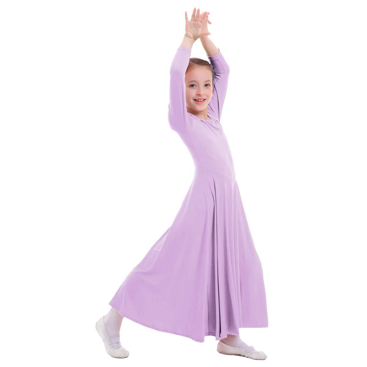 IWEMEK Kids Girls Cotton Long Sleeve Praise Liturgical Loose Fit Full Length Lyrical Dance Dress Ballet Dancewear Costume