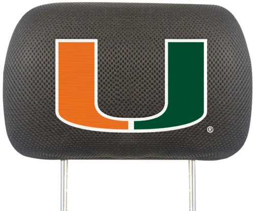 FANMATS  12581  NCAA University of Miami Hurricanes Polyester Head Rest Cover (Seat Miami Covers)