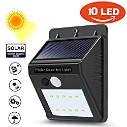 LtrottedJ 10 LED Solar Power PIR Motion Sensor Wall Light ,Outdoor Garden Waterproof Lamp