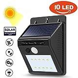 LtrottedJ 10 LED Solar Power PIR Motion Sensor Wall Light ,Outdoor Garden Waterproof Lamp