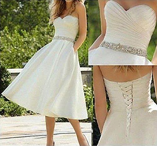Amore Longueur Des Femmes De Mariée De Thé De Satin Perles Robes De Mariée Avec Des Poches Blanc