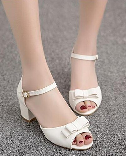 Strap Heels Sweet Ankle Chunky Mid Bows Sandals White EaseMax Womens With Sx4nqz