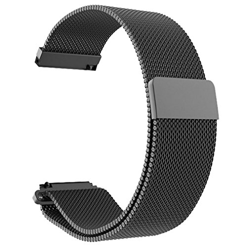 Price comparison product image Owill Milanese Magnetic Loop Stainless Steel Bracelet Watch Band Strap For Xiaomi Huami Amazfit Bip Youth Watch,  Band Lenght: 195mm (Black)
