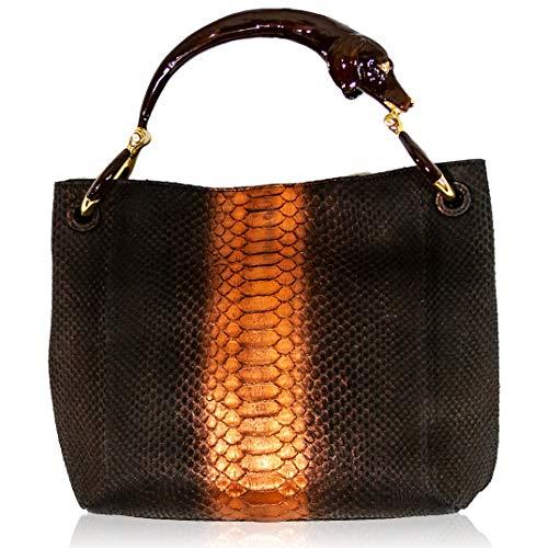 Lined Clutch Snakeskin (Silvano Biagini Italian Designer Chocolate Opal Genuine Python Leather Purse Bag w/Dog Handle)