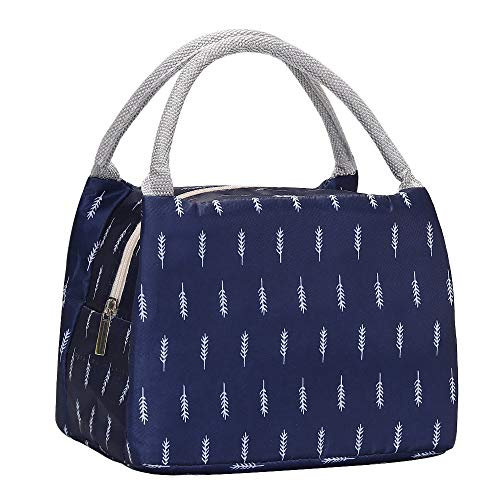 Lunch Bag Insulated Lunch Box Reusable Lunch Tote Cooler Organizer Bag Lunch Bags for Women Ladies Adults(Navy Blue)