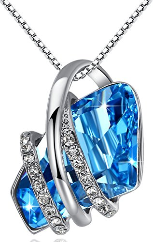 "[Presented by Miss New York] Leafael ""Wish Stone"" Made with Swarovski Crystals Focal Shape Pendant Necklace, 18K Rose Gold Plated, 18""+2"", Nickel/Lead/Allergy Free, Luxury Gift Box"